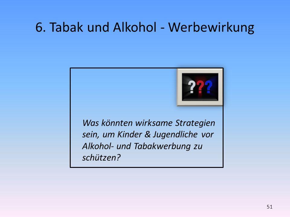 6. Tabak und Alkohol - Werbewirkung 51 Was könnten wirksame Strategien sein, um Kinder & Jugendliche vor Alkohol- und Tabakwerbung zu schützen?