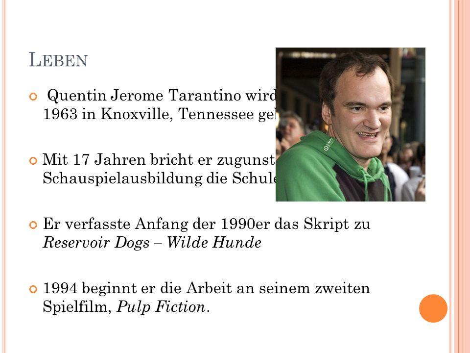 1995 schrieb er Teile der Drehbücher zum Episodenfilm Four Rooms – Silvester in fremden Betten und From Dusk Till Dawn Kurz darauf kündigt Tarantino sein nächstes Projekt, das Racheepos Kill Bill an, das im Oktober 2003 und im April 2004 ins Kino kam.