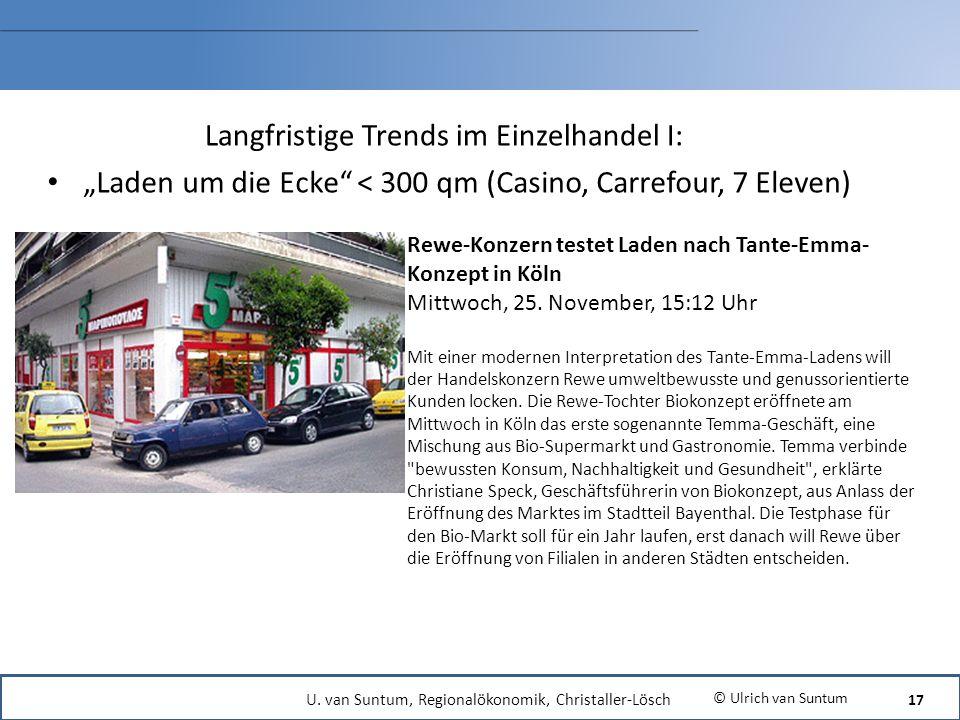 Langfristige Trends im Einzelhandel I: Laden um die Ecke < 300 qm (Casino, Carrefour, 7 Eleven) © Ulrich van Suntum Rewe-Konzern testet Laden nach Tan
