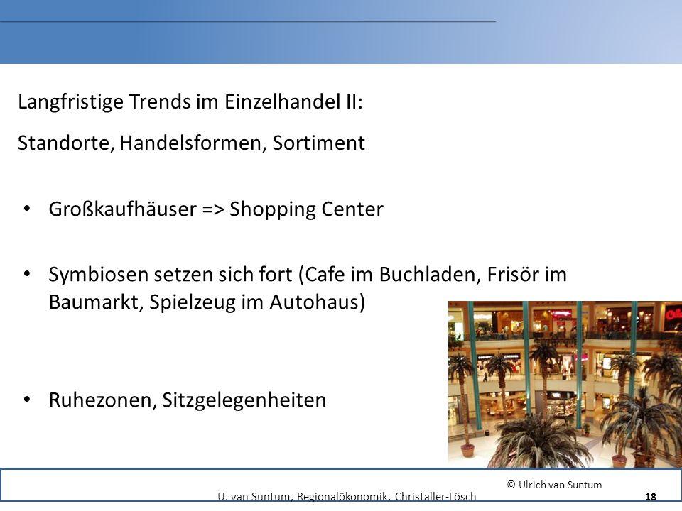 Langfristige Trends im Einzelhandel II: Standorte, Handelsformen, Sortiment Großkaufhäuser => Shopping Center Symbiosen setzen sich fort (Cafe im Buch