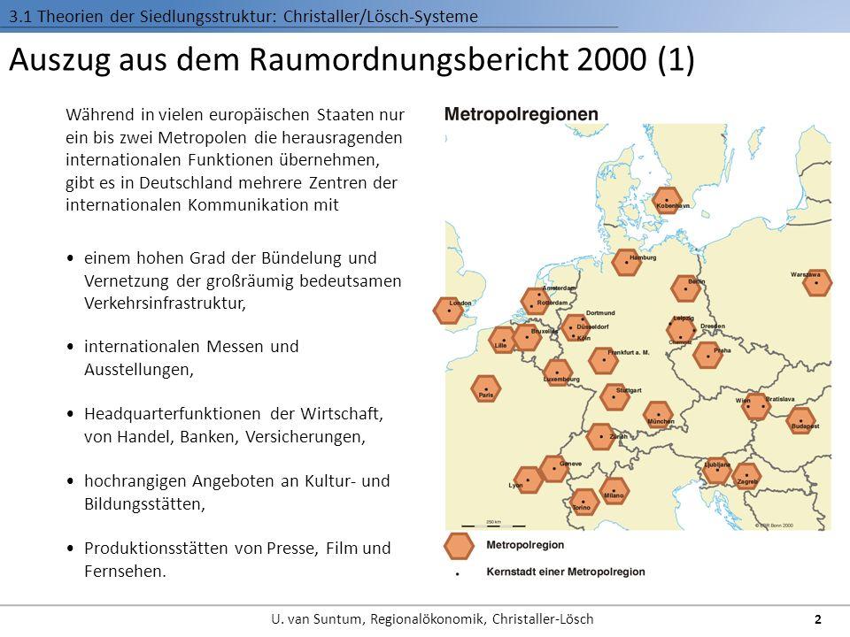 Auszug aus dem Raumordnungsbericht 2000 (2) Das System der Ober- und Mittelzentren prägt die Raumstruktur 3.1 Theorien der Siedlungsstruktur: Christaller/Lösch-Systeme 3 U.