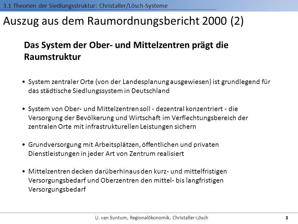 Auszug aus dem Raumordnungsbericht 2000 (2) Das System der Ober- und Mittelzentren prägt die Raumstruktur 3.1 Theorien der Siedlungsstruktur: Christal