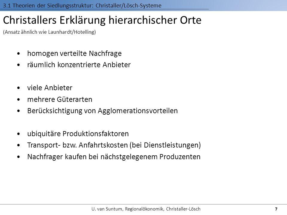 Christallers Erklärung hierarchischer Orte homogen verteilte Nachfrage räumlich konzentrierte Anbieter viele Anbieter mehrere Güterarten Berücksichtig