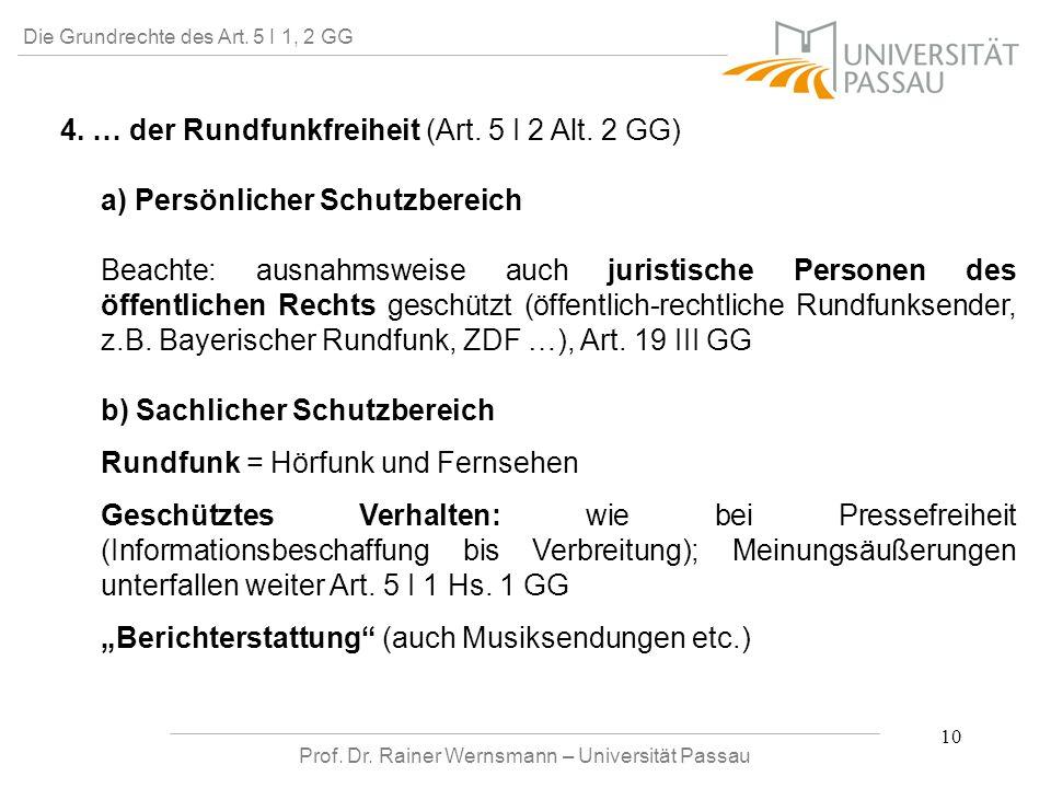 Prof. Dr. Rainer Wernsmann – Universität Passau 10 Die Grundrechte des Art. 5 I 1, 2 GG 4. … der Rundfunkfreiheit (Art. 5 I 2 Alt. 2 GG) a) Persönlich