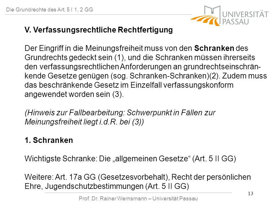 Prof. Dr. Rainer Wernsmann – Universität Passau 13 Die Grundrechte des Art. 5 I 1, 2 GG V. Verfassungsrechtliche Rechtfertigung Der Eingriff in die Me