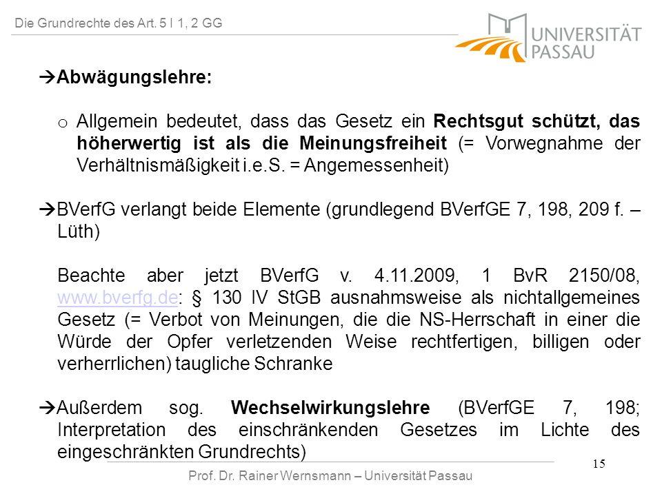 Prof. Dr. Rainer Wernsmann – Universität Passau 15 Die Grundrechte des Art. 5 I 1, 2 GG Abwägungslehre: o o Allgemein bedeutet, dass das Gesetz ein Re
