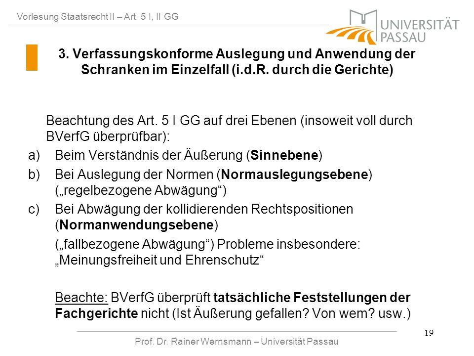 Prof. Dr. Rainer Wernsmann – Universität Passau 19 Vorlesung Staatsrecht II – Art. 5 I, II GG 3. Verfassungskonforme Auslegung und Anwendung der Schra