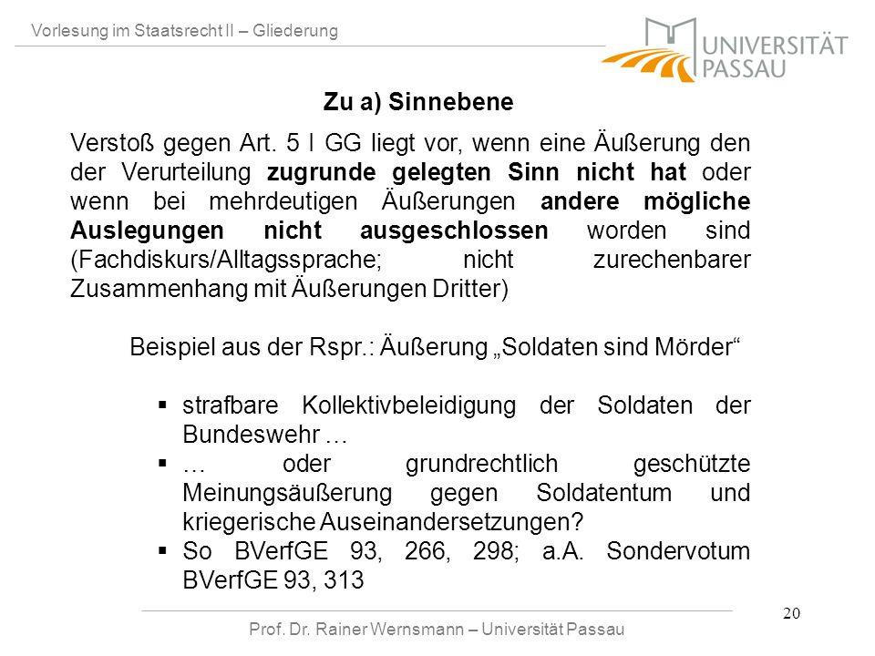 Prof. Dr. Rainer Wernsmann – Universität Passau 20 Vorlesung im Staatsrecht II – Gliederung Verstoß gegen Art. 5 I GG liegt vor, wenn eine Äußerung de