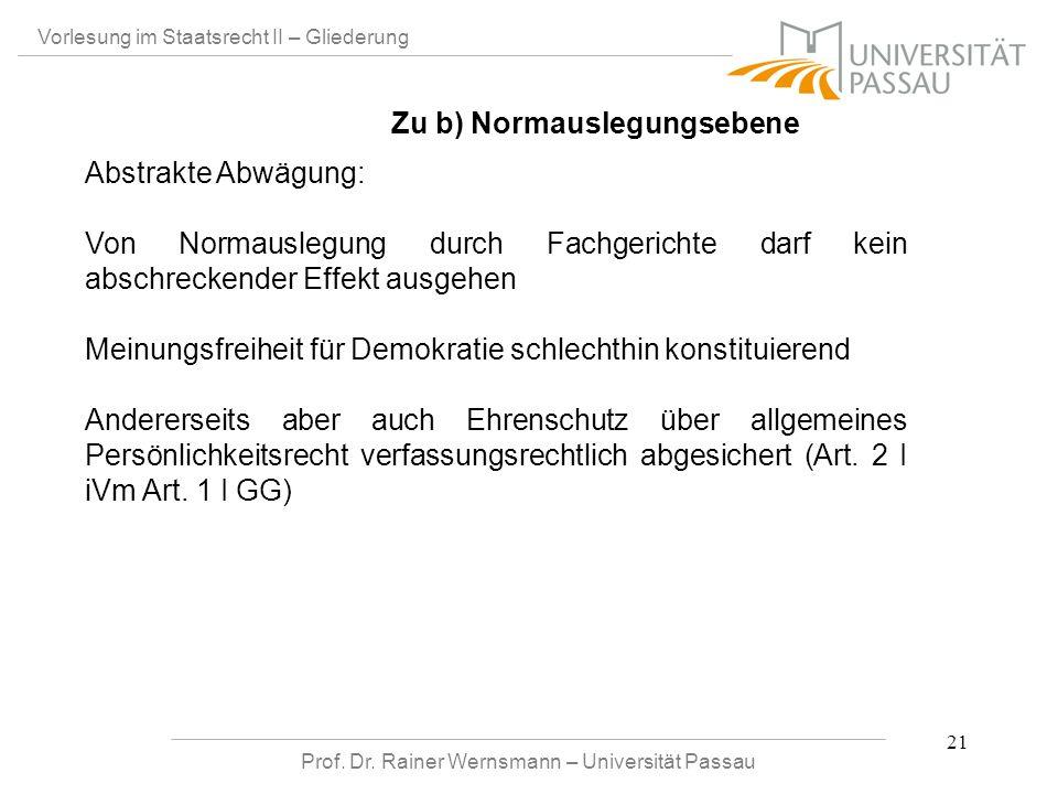 Prof. Dr. Rainer Wernsmann – Universität Passau 21 Vorlesung im Staatsrecht II – Gliederung Abstrakte Abwägung: Von Normauslegung durch Fachgerichte d