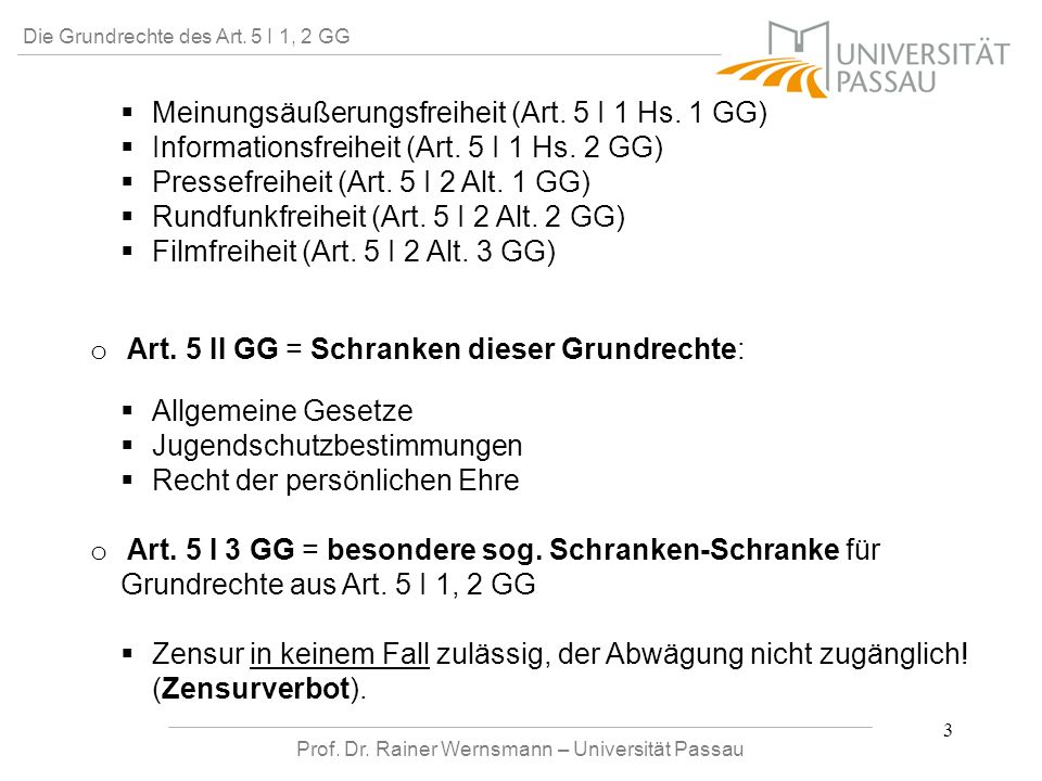 Prof. Dr. Rainer Wernsmann – Universität Passau 3 Die Grundrechte des Art. 5 I 1, 2 GG Meinungsäußerungsfreiheit (Art. 5 I 1 Hs. 1 GG) Informationsfre