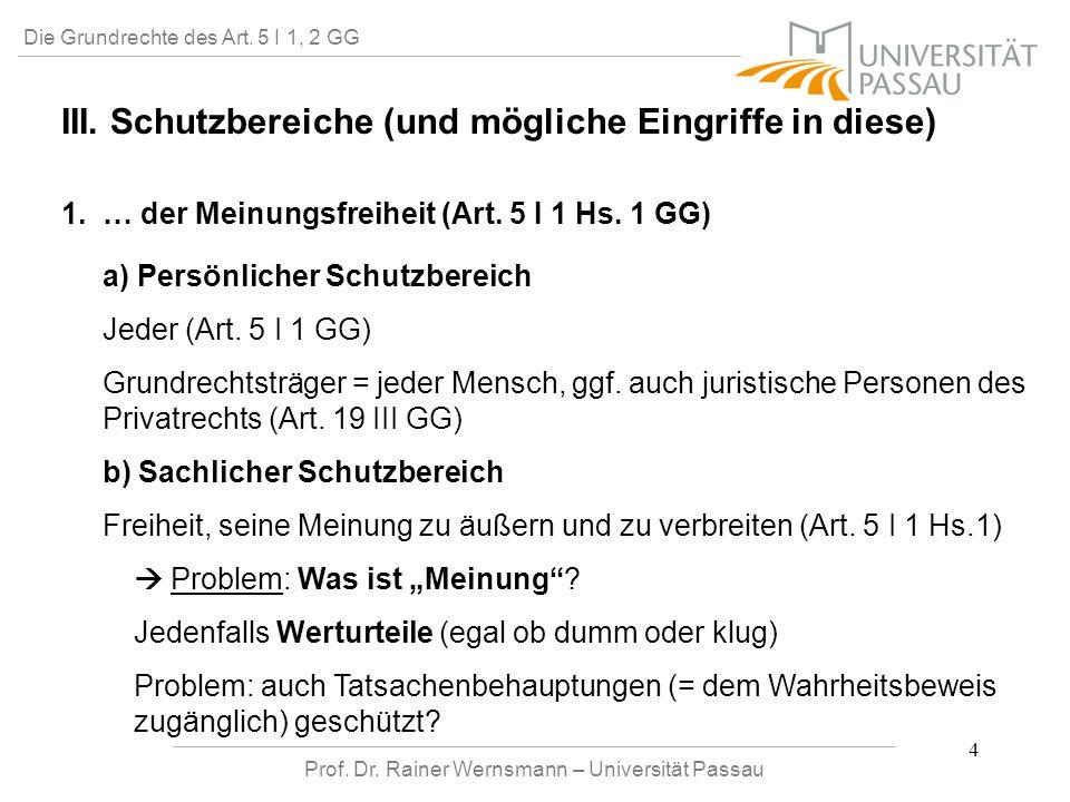Prof. Dr. Rainer Wernsmann – Universität Passau 4 Die Grundrechte des Art. 5 I 1, 2 GG III. Schutzbereiche (und mögliche Eingriffe in diese) 1. … der