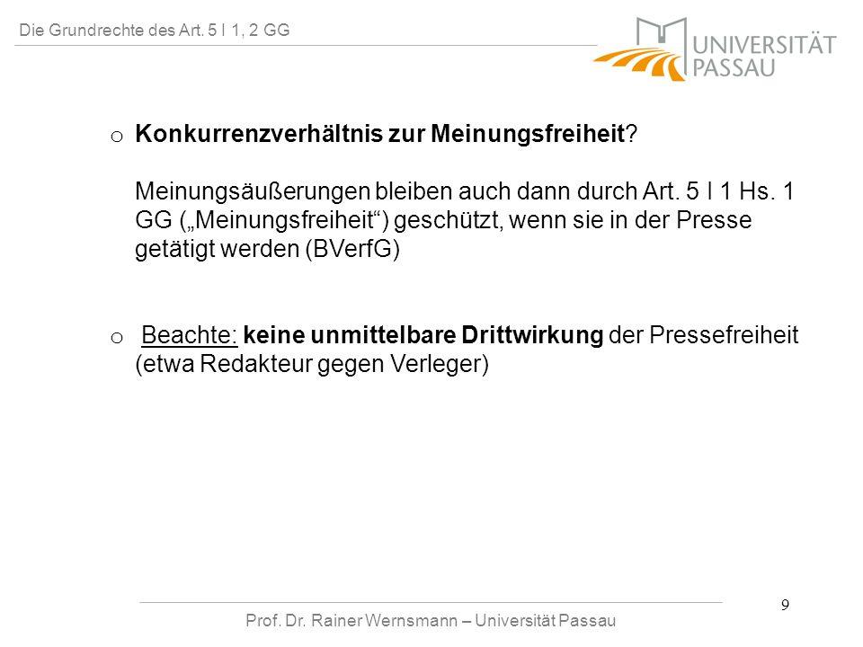 Prof. Dr. Rainer Wernsmann – Universität Passau 9 Die Grundrechte des Art. 5 I 1, 2 GG o o Konkurrenzverhältnis zur Meinungsfreiheit? Meinungsäußerung