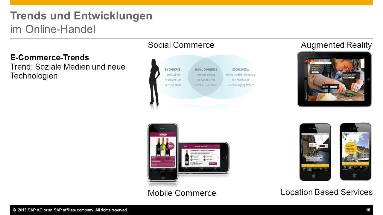 ©2013 SAP AG or an SAP affiliate company. All rights reserved.18 Trends und Entwicklungen im Online-Handel E-Commerce-Trends Trend: Soziale Medien und