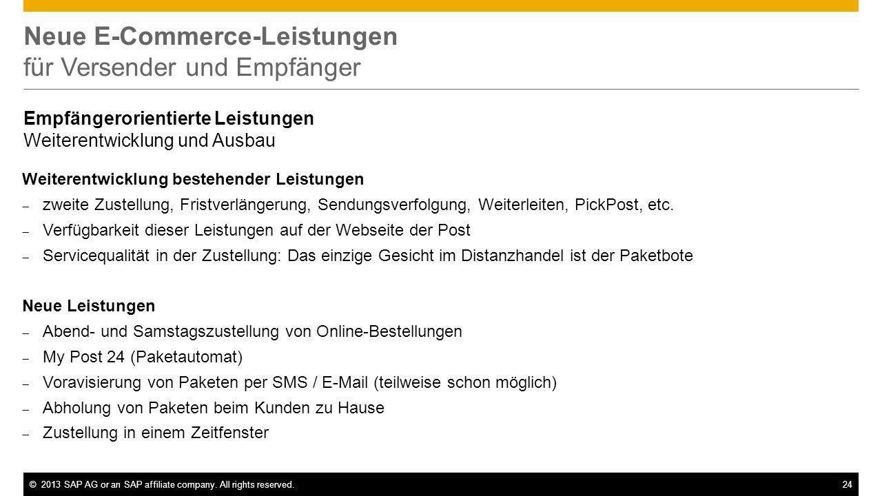 ©2013 SAP AG or an SAP affiliate company. All rights reserved.24 Neue E-Commerce-Leistungen für Versender und Empfänger Empfängerorientierte Leistunge