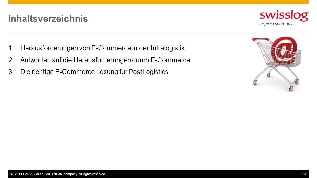 ©2013 SAP AG or an SAP affiliate company. All rights reserved.31 Inhaltsverzeichnis 1.Herausforderungen von E-Commerce in der Intralogistik 2.Antworte