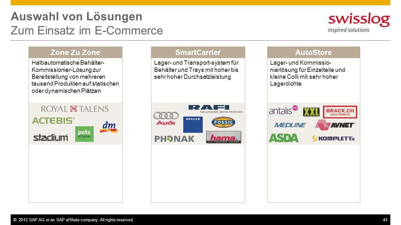 ©2013 SAP AG or an SAP affiliate company. All rights reserved.41 Auswahl von Lösungen Zum Einsatz im E-Commerce SmartCarrierZone Zu ZoneAutoStore Halb