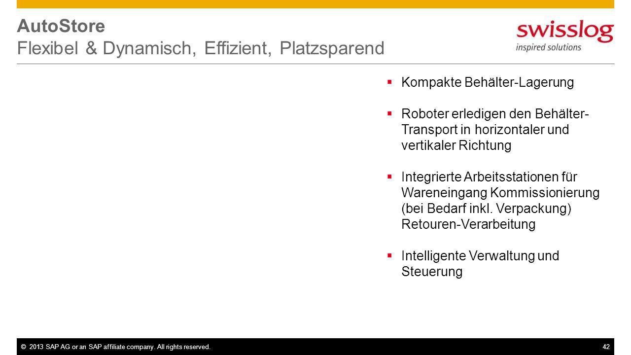 ©2013 SAP AG or an SAP affiliate company. All rights reserved.42 AutoStore Flexibel & Dynamisch, Effizient, Platzsparend Kompakte Behälter-Lagerung Ro