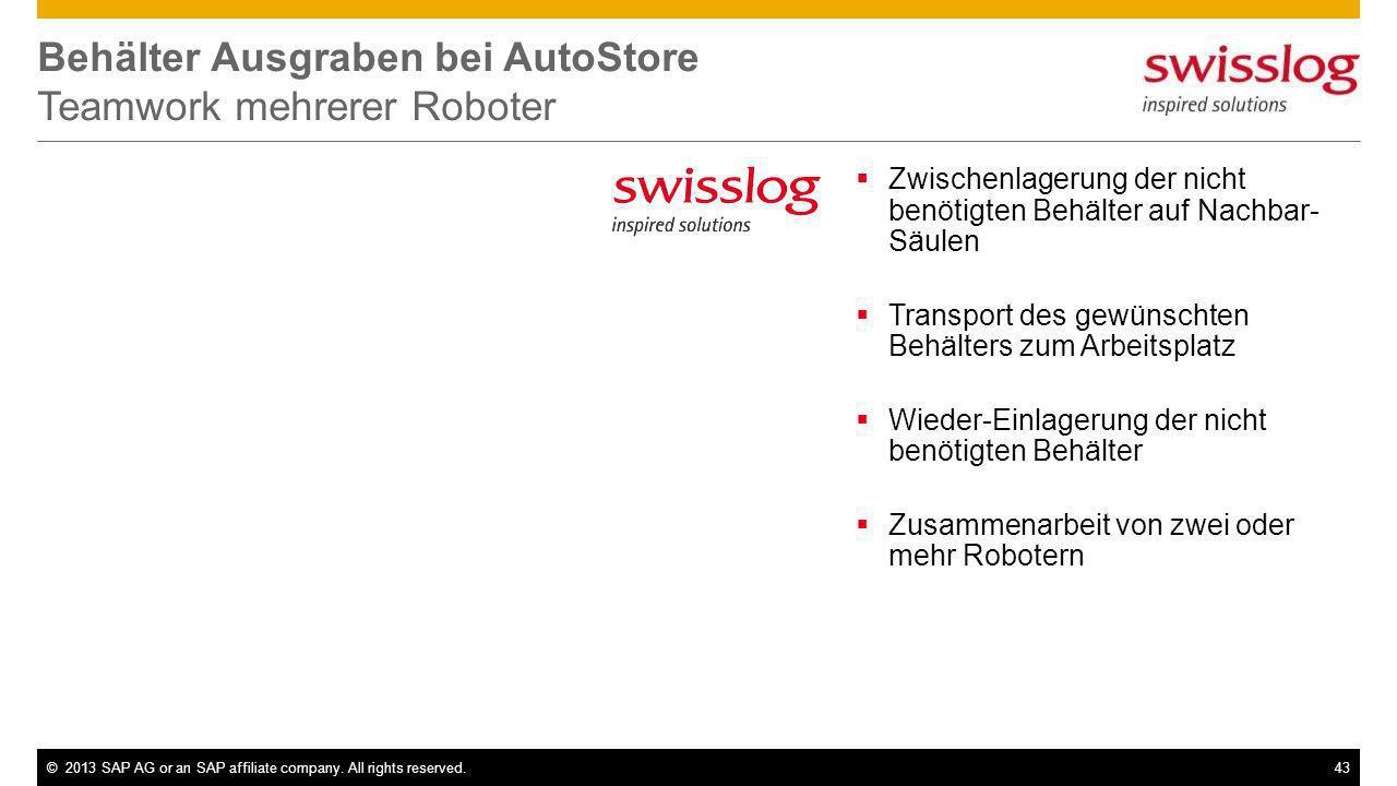 ©2013 SAP AG or an SAP affiliate company. All rights reserved.43 Behälter Ausgraben bei AutoStore Teamwork mehrerer Roboter Zwischenlagerung der nicht
