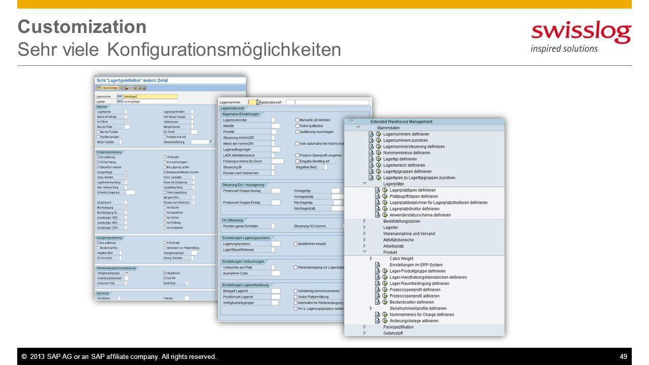 ©2013 SAP AG or an SAP affiliate company. All rights reserved.49 Customization Sehr viele Konfigurationsmöglichkeiten