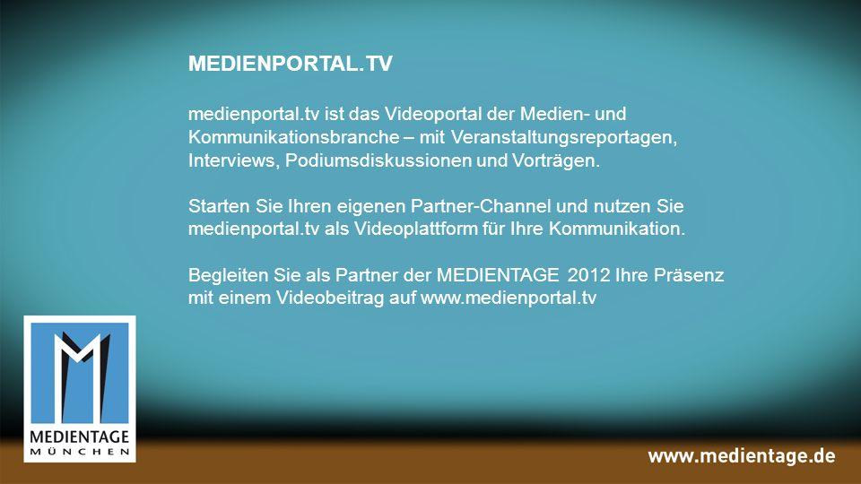 MEDIENPORTAL.TV medienportal.tv ist das Videoportal der Medien- und Kommunikationsbranche – mit Veranstaltungsreportagen, Interviews, Podiumsdiskussionen und Vorträgen.