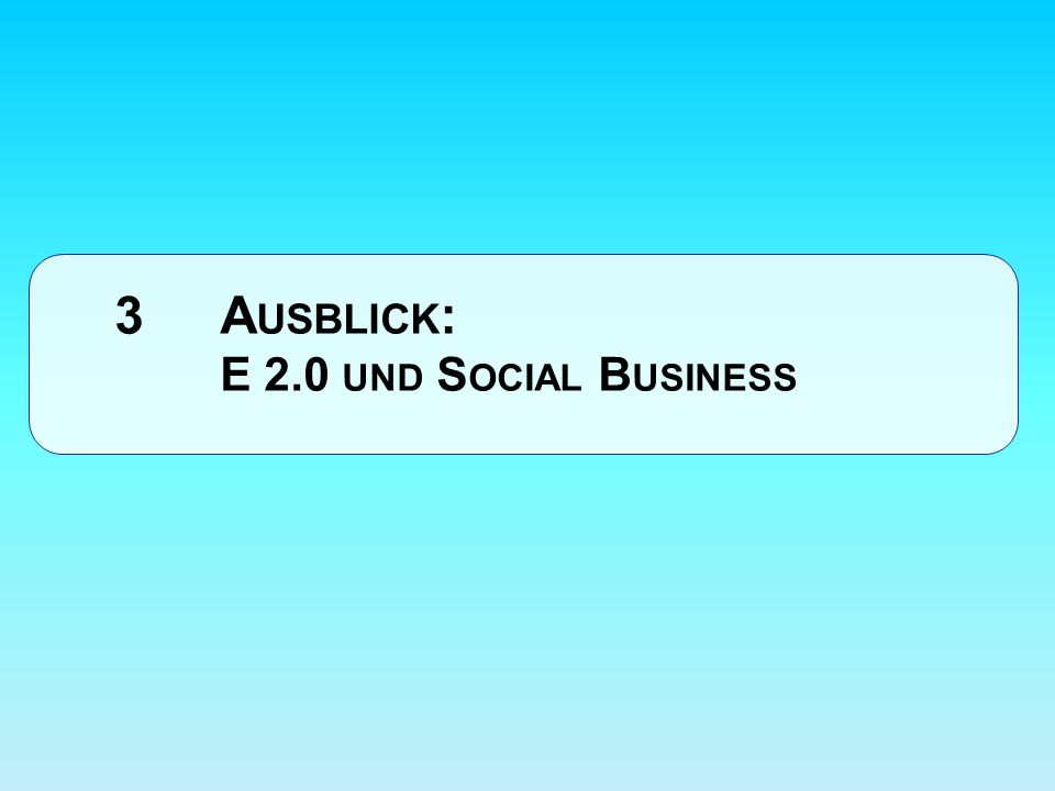 3 A USBLICK : E 2.0 UND S OCIAL B USINESS