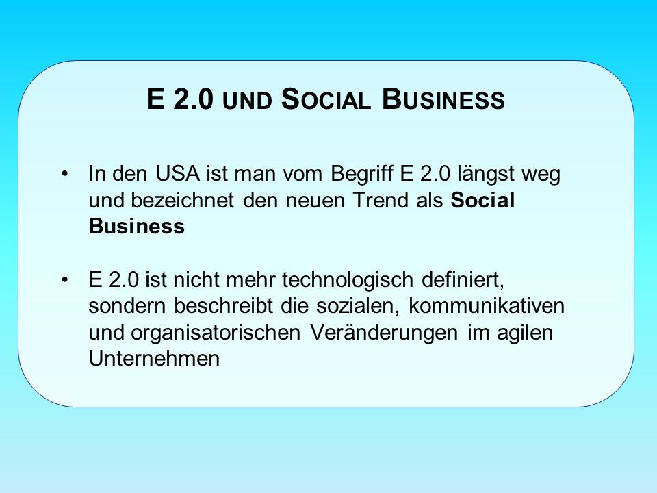E 2.0 UND S OCIAL B USINESS In den USA ist man vom Begriff E 2.0 längst weg und bezeichnet den neuen Trend als Social Business E 2.0 ist nicht mehr technologisch definiert, sondern beschreibt die sozialen, kommunikativen und organisatorischen Veränderungen im agilen Unternehmen
