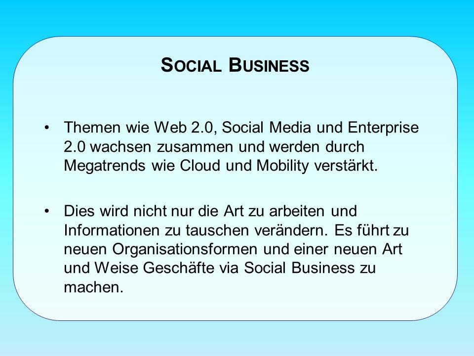 S OCIAL B USINESS Themen wie Web 2.0, Social Media und Enterprise 2.0 wachsen zusammen und werden durch Megatrends wie Cloud und Mobility verstärkt.