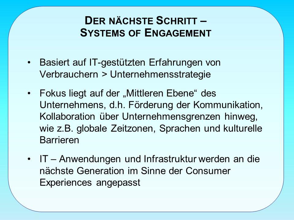 D ER NÄCHSTE S CHRITT – S YSTEMS OF E NGAGEMENT Basiert auf IT-gestützten Erfahrungen von Verbrauchern > Unternehmensstrategie Fokus liegt auf der Mittleren Ebene des Unternehmens, d.h.