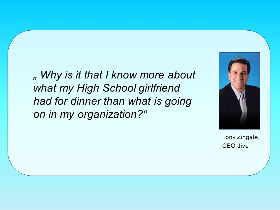 Why is it that I know more about what my High School girlfriend had for dinner than what is going on in my organization? Tony Zingale, CEO Jive