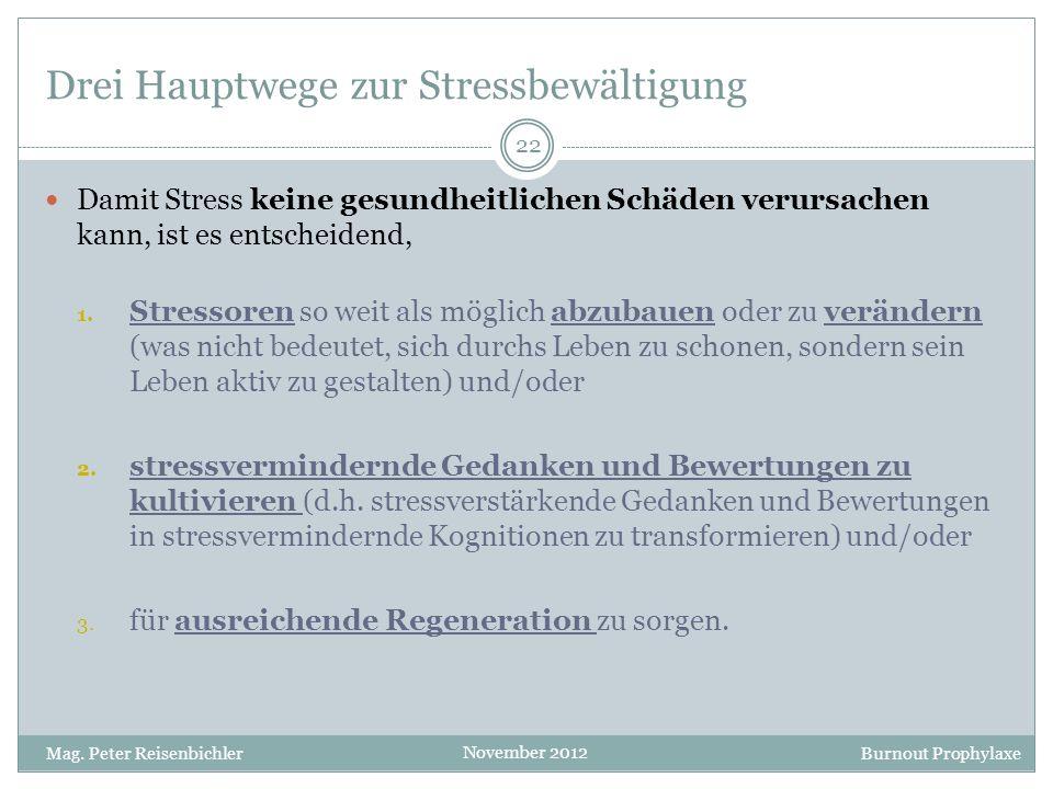 Burnout Prophylaxe November 2012 Drei Hauptwege zur Stressbewältigung Damit Stress keine gesundheitlichen Schäden verursachen kann, ist es entscheiden