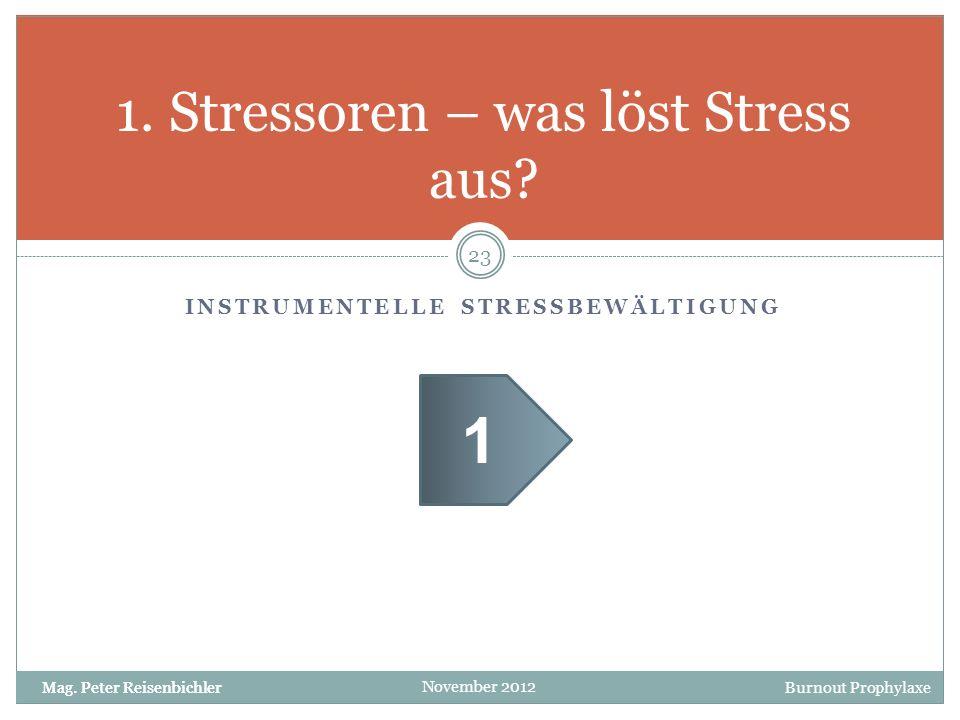 Burnout Prophylaxe November 2012 INSTRUMENTELLE STRESSBEWÄLTIGUNG 1. Stressoren – was löst Stress aus? 23 Mag. Peter Reisenbichler 1