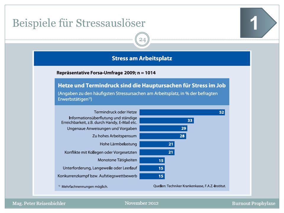 Burnout Prophylaxe November 2012 Beispiele für Stressauslöser 24 Mag. Peter Reisenbichler 1
