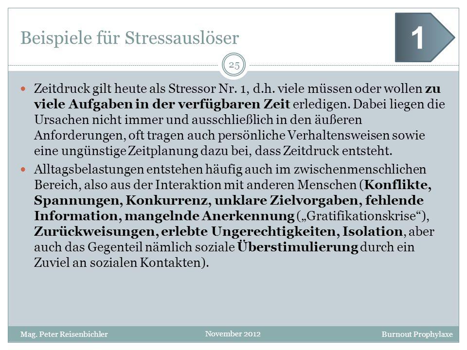 Burnout Prophylaxe November 2012 Beispiele für Stressauslöser Zeitdruck gilt heute als Stressor Nr. 1, d.h. viele müssen oder wollen zu viele Aufgaben