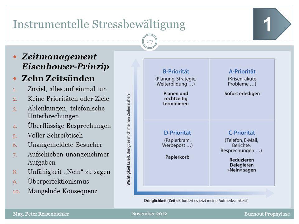 Burnout Prophylaxe November 2012 Instrumentelle Stressbewältigung Zeitmanagement Eisenhower-Prinzip Zehn Zeitsünden 1. Zuviel, alles auf einmal tun 2.