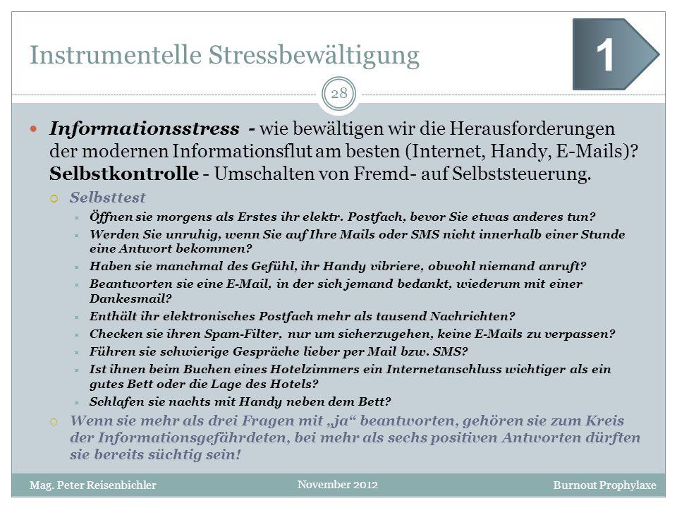 Burnout Prophylaxe November 2012 Instrumentelle Stressbewältigung Informationsstress - wie bewältigen wir die Herausforderungen der modernen Informati