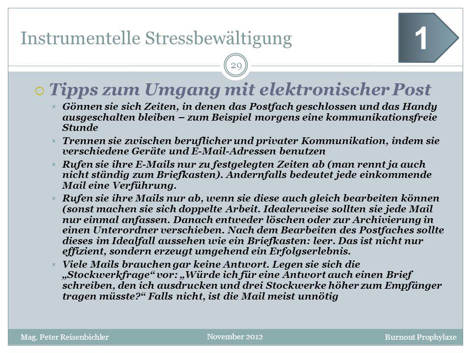 Burnout Prophylaxe November 2012 Instrumentelle Stressbewältigung 29 Mag. Peter Reisenbichler 1 Tipps zum Umgang mit elektronischer Post Gönnen sie si