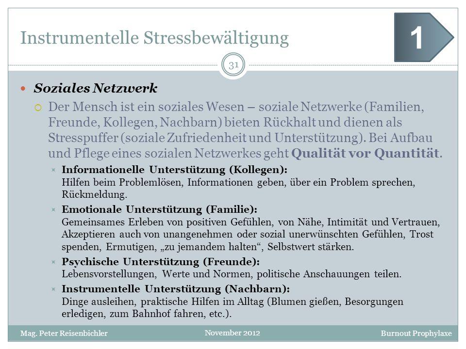 Burnout Prophylaxe November 2012 Instrumentelle Stressbewältigung Soziales Netzwerk Der Mensch ist ein soziales Wesen – soziale Netzwerke (Familien, F