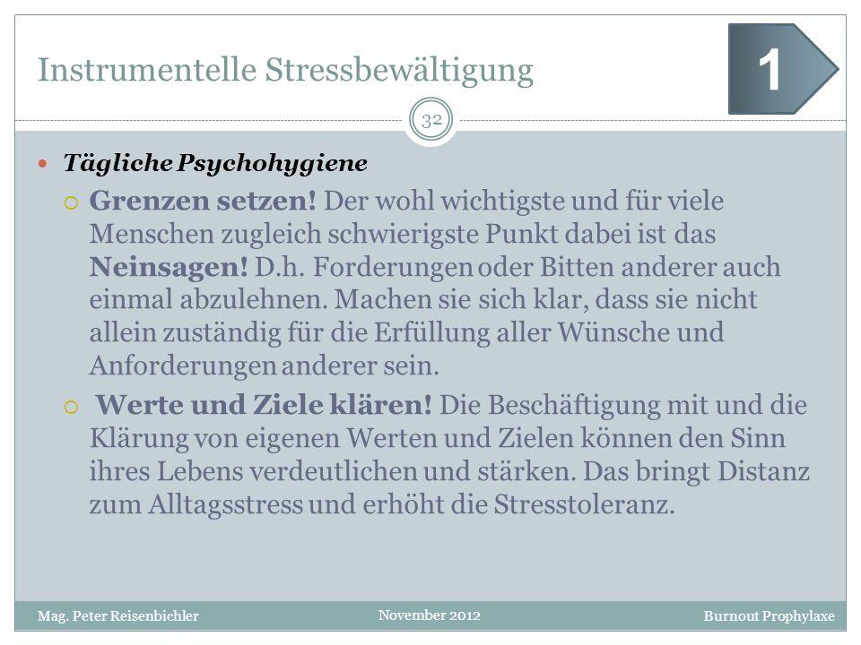 Burnout Prophylaxe November 2012 Instrumentelle Stressbewältigung Tägliche Psychohygiene Grenzen setzen! Der wohl wichtigste und für viele Menschen zu