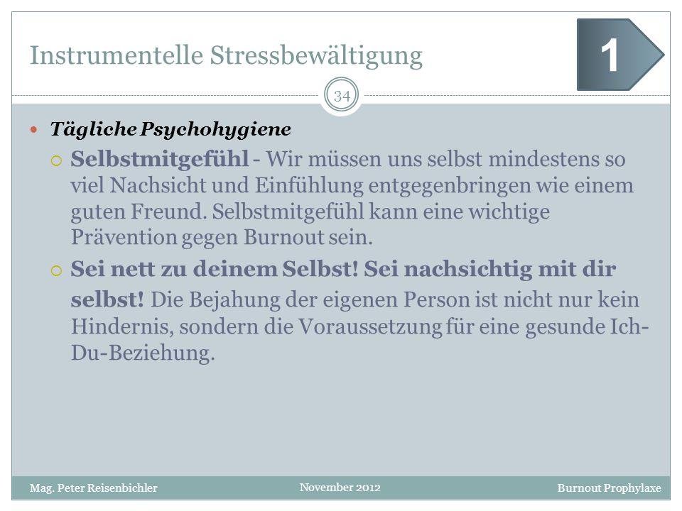 Burnout Prophylaxe November 2012 Instrumentelle Stressbewältigung Tägliche Psychohygiene Selbstmitgefühl - Wir müssen uns selbst mindestens so viel Na