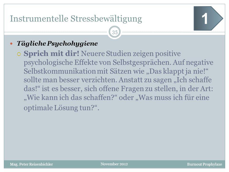 Burnout Prophylaxe November 2012 Instrumentelle Stressbewältigung Tägliche Psychohygiene Sprich mit dir! Neuere Studien zeigen positive psychologische