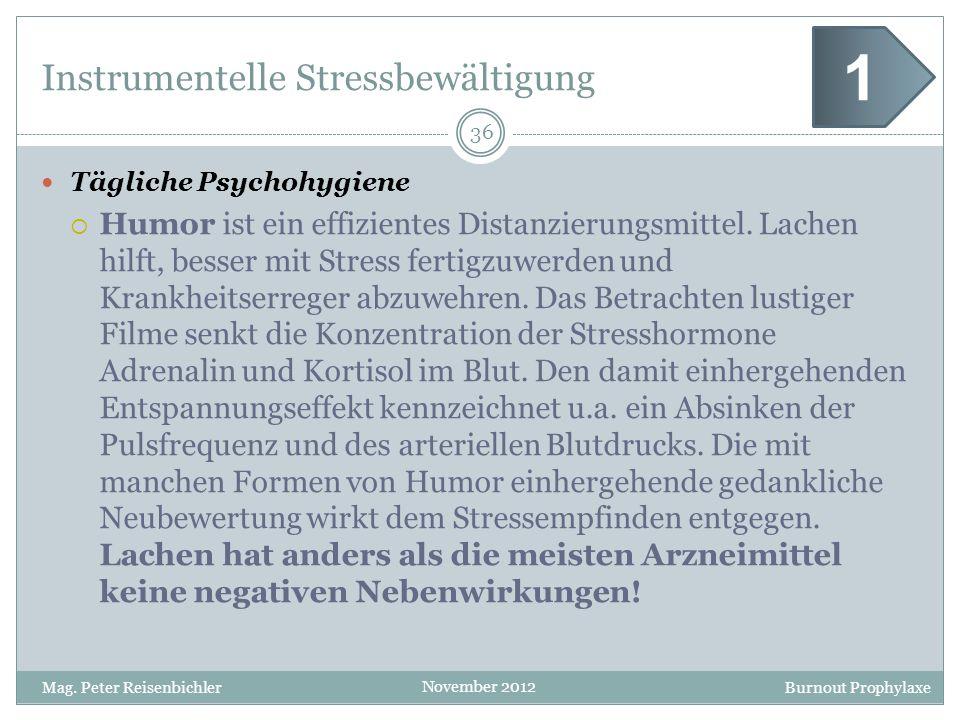 Burnout Prophylaxe November 2012 Instrumentelle Stressbewältigung Tägliche Psychohygiene Humor ist ein effizientes Distanzierungsmittel. Lachen hilft,