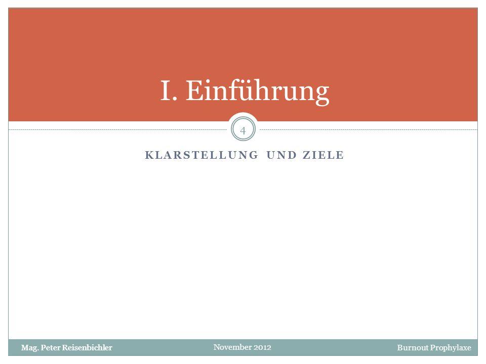 Burnout Prophylaxe November 2012 Klarstellung Die Präsentation wurde auch als Nachlese konzipiert, daher sind die Text weitgehend ausformuliert.