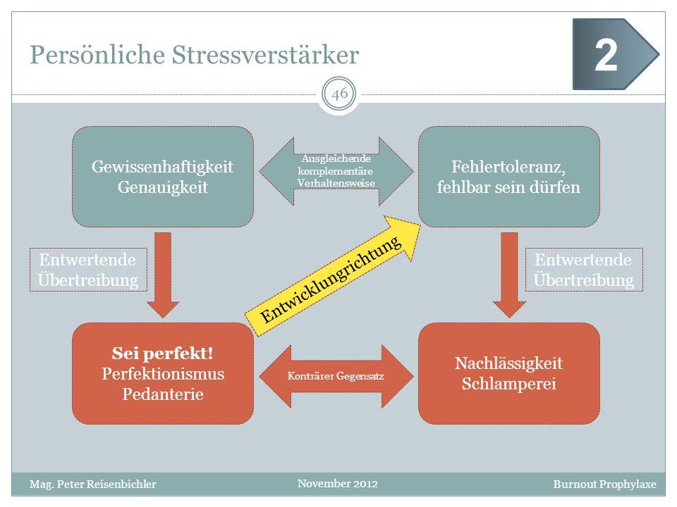Burnout Prophylaxe November 2012 Persönliche Stressverstärker 46 Mag. Peter Reisenbichler 2 Gewissenhaftigkeit Genauigkeit Fehlertoleranz, fehlbar sei