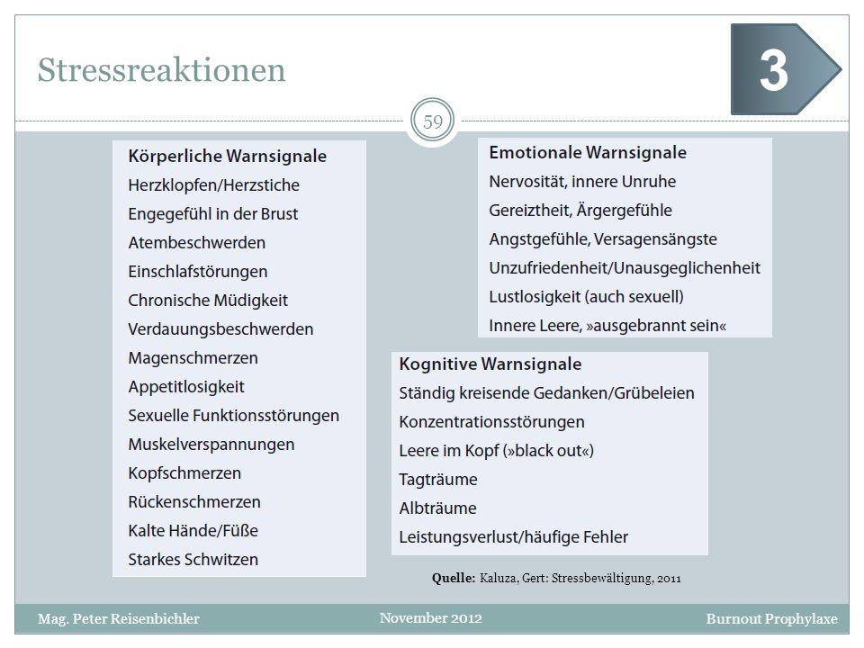 Burnout Prophylaxe November 2012 Stressreaktionen 59 Mag. Peter Reisenbichler Quelle: Kaluza, Gert: Stressbewältigung, 2011 3