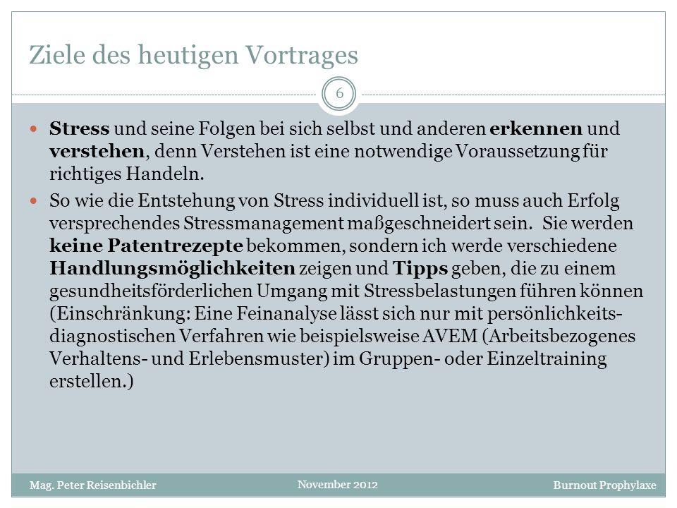 Burnout Prophylaxe November 2012 Wann macht Stress krank? 17 Mag. Peter Reisenbichler