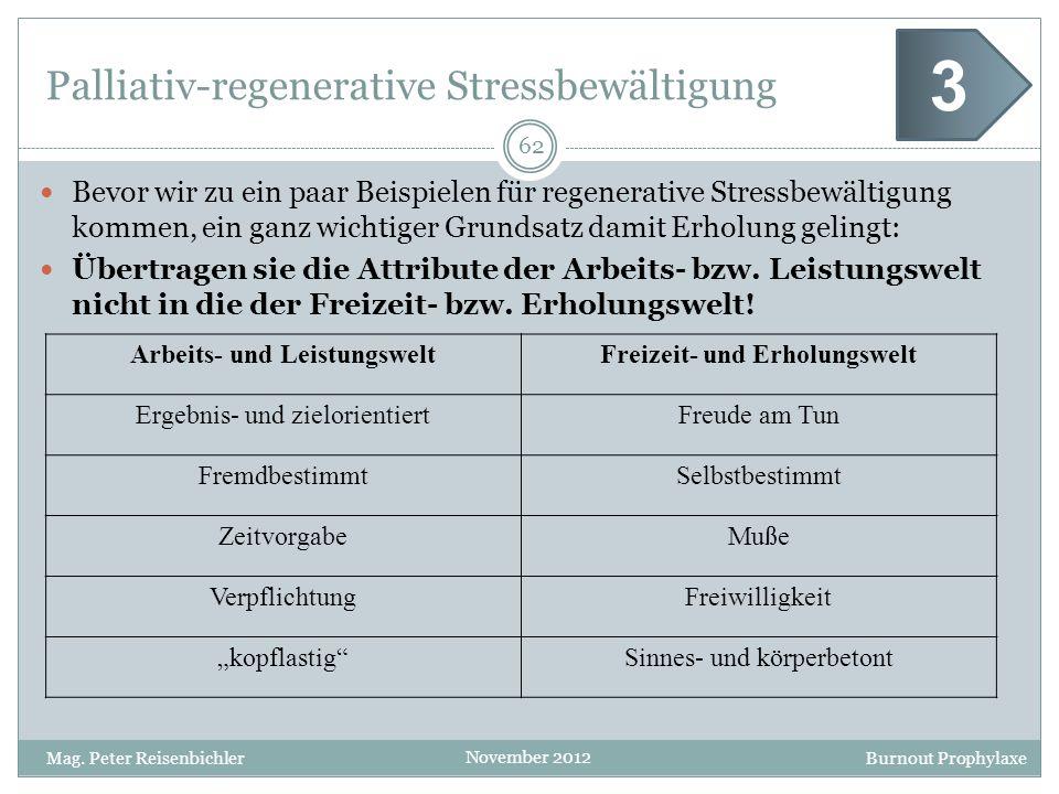 Burnout Prophylaxe November 2012 Palliativ-regenerative Stressbewältigung Bevor wir zu ein paar Beispielen für regenerative Stressbewältigung kommen,