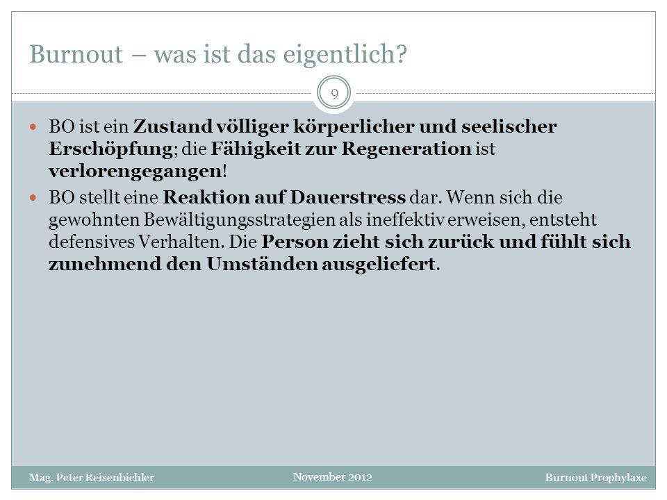 Burnout Prophylaxe November 2012 Die drei Ebenen des Stressgeschehens Quelle: Kaluza, Gert: Stressbewältigung, 2011 1 3 2 20 Mag.