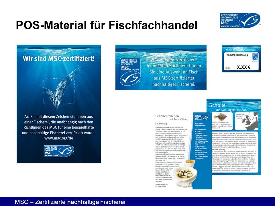 MSC – Zertifizierte nachhaltige Fischerei POS-Material für Fischfachhandel