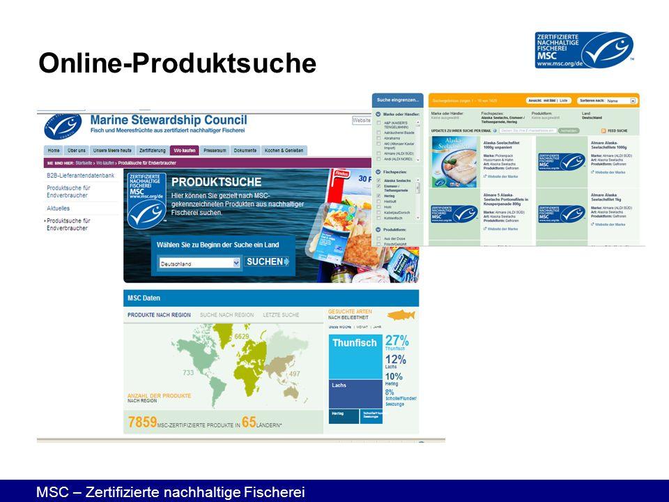MSC – Zertifizierte nachhaltige Fischerei Online-Produktsuche