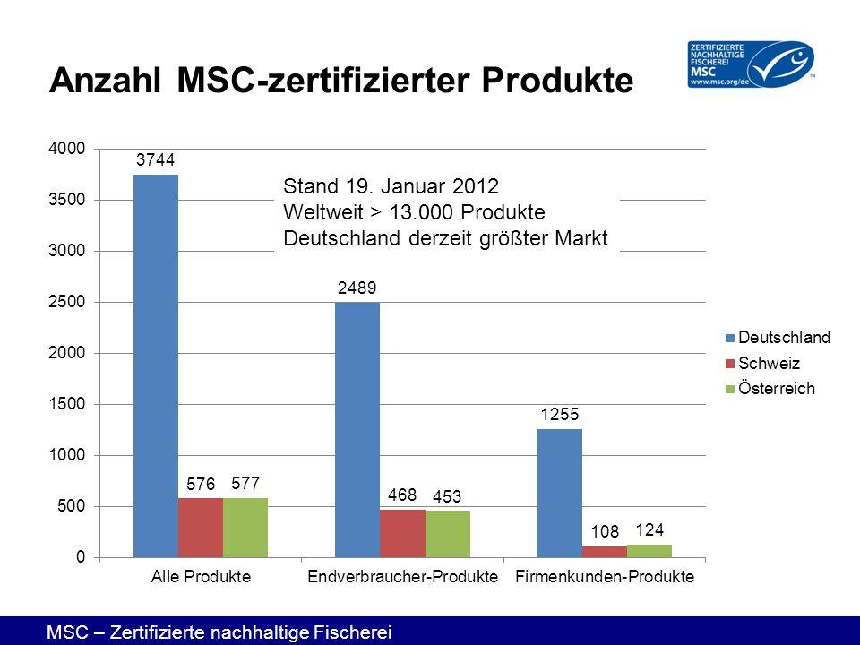 MSC – Zertifizierte nachhaltige Fischerei Anzahl MSC-zertifizierter Produkte Stand 19. Januar 2012 Weltweit > 13.000 Produkte Deutschland derzeit größ